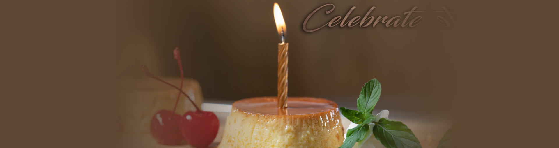 flan with candle